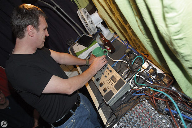 Another strategy for reducing spill in the room while recording was to use a modelling guitar preamp for recording the electric guitar, allowing a floor wedge to be used at low volumes for monitoring purposes. Paul's own Line 6 Pod XT (left) was able to create a sound the guitarist was happy to record with, and because the band's own Korg AX1000G  (right) was unable to do so, despite concerted programming efforts, they decided to budget for a new modelling preamp.