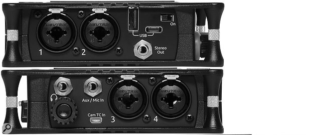 The four high-quality Kashmir mic preamps are accessed via XLRs on the side panels of the MixPre-6.