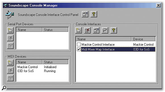 The main Soundscape Console Manager window: