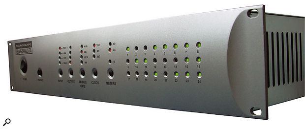 A Mixpander Power Pak comprises one or more cards plus one or more iBox interfaces. This is the iBox 64-MADI-TA, which provides 24 analogue ins and outs, 24 TDIF-format digital ins and outs, and 64-channel MADI digital I/O.