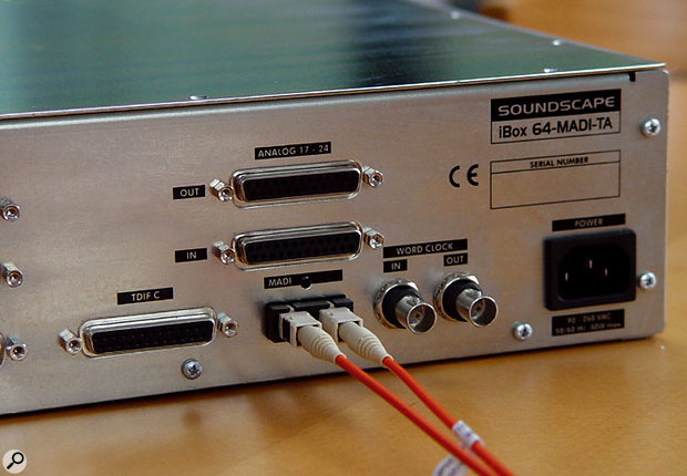 Analogue I/O for the iBox component of Mixpander systems is provided on Tascam-format D-Sub connectors, while the MADI ports use optical connectors.