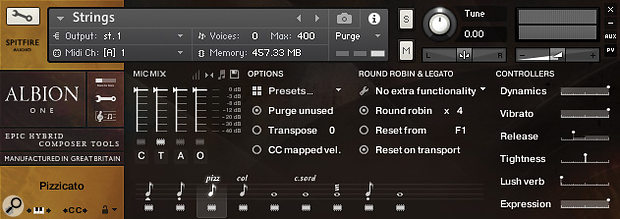 The General Controls panel shows the full four-way mic mixer, the transpose setting, round-robin and velocity options and the 'purge unused samples' button, as well as a Tightness control which affects the attack of some short-note articulations.