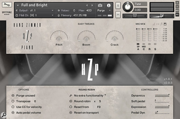 The Hans Zimmer Kontakt GUI includes a four-way mic mixer, a soft pedal control, low-pass and high-pass filters and a pitch dial for extreme detuning.