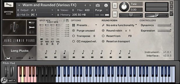 The library includes a large menu of pianistic effects — different playing styles are selectable on the fly via keyswitches.