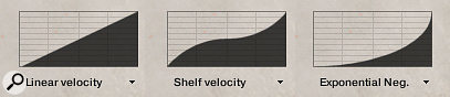 You can use HZP's 'Linear Velocity' feature to scale the dynamic response of the piano to your touch using preset velocity curves like those shown here — or you can draw your own.