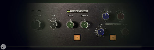 The Vintage Drive section is designed to add harmonic complexity to the signal, in similar fashion to SSL's VHD preamps.
