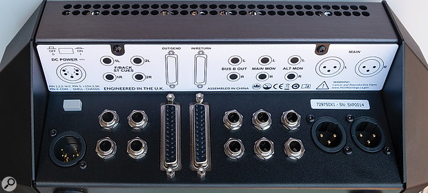 The rear panel plays host to the various analogue outputs as well as the inlet for the external DC power supply.