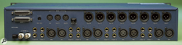 The ADC&DAC 3000 rackmount unit has eight line inputs and eight mic inputs, all on the back panel, and connecting anything to a line input disables the corresponding mic input.