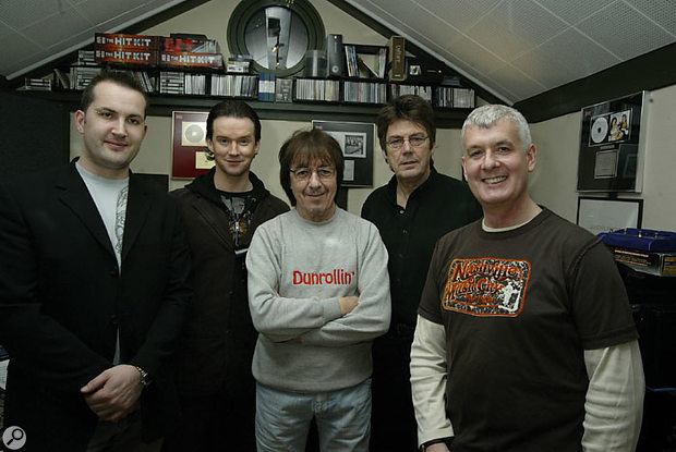 Russell Watson (second from left) and Bill Wyman (centre) both contributed their parts on the same day, in the studio of Steve Levine (far-right). Also present for this photo were keyboard player Darren Sell (left) and the song's author Mike Read (second right).