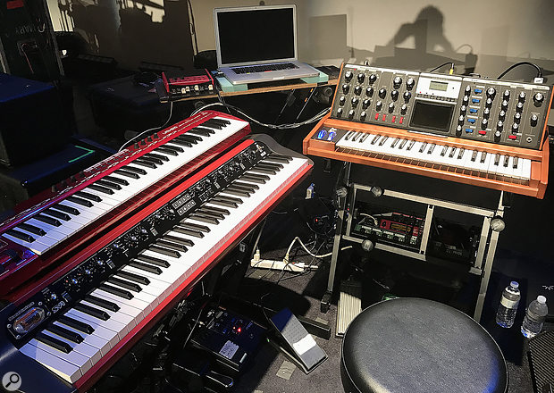 Adam Holzman's keyboard rig, including a Korg SV1, Moog Voyager and a laptop running Apple's MainStage software.