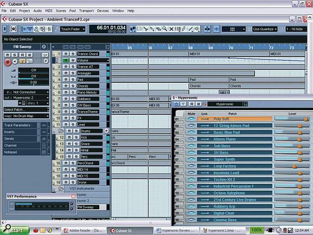 One of Hypersonic's main selling points is its efficiency, as demonstrated here with the playback of a Project in Cubase SX on a 1.3GHz Pentium-M laptop.