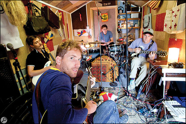 Stornoway in their Oxford shed-cum-studio. From left: Oli Steadman, Brian Briggs, Rob Steadman and Jon Ouin.