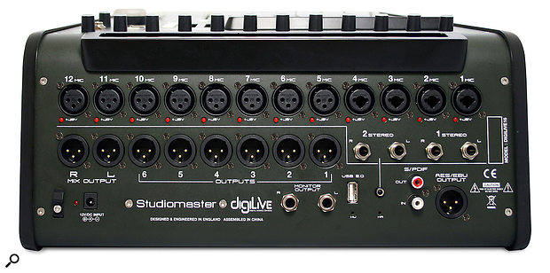 The DigiLive's 16 inputs are comprised of 12 mic channels and two stereo line-input pairs.