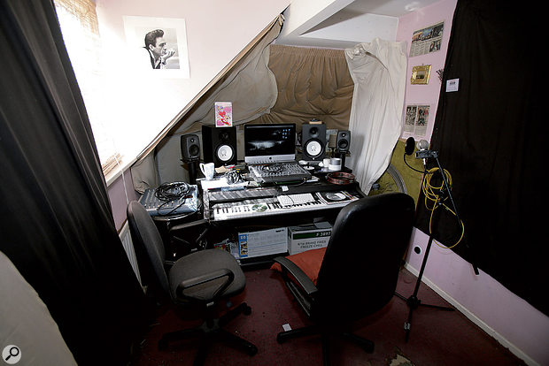 Before: Matthew had already deadened the monitoring area with duvets and heavy curtains, but he was still having trouble creating mixes that translated well to other systems.