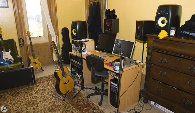 Howard Bragen's studio as we found it on arrival. His new KRK monitors hadn't been set up and his existing Spirit Absolute Zeros were set up on very lightweght stands and partically obscured by the PC monitors.