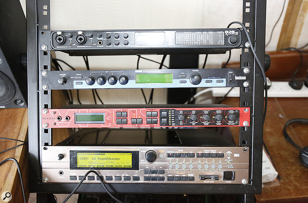 A MOTU 828 MkII handles all the line inputs from Mark's hardware synths and sound modules.
