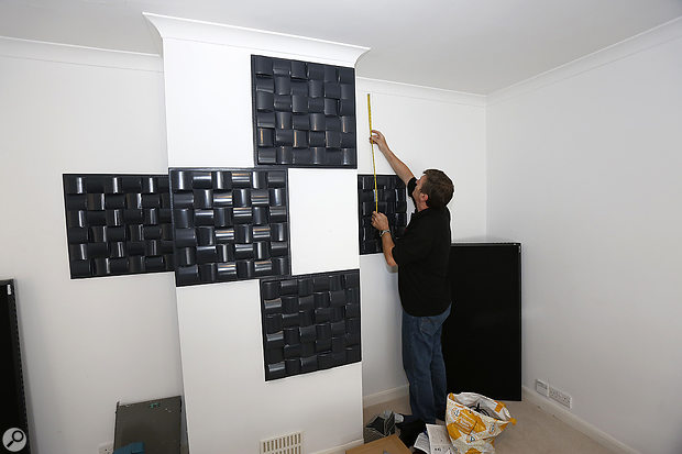 The studio's rear wall was decorated with six Sound Momentum diffusor panels.