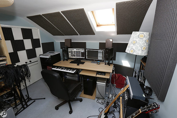 With some extra acoustic panels put up, the monitor speakers placed on stands slightly nearer the wall and — most importantly — the faulty monitor identified, the sound from the monitors was considerably more stable.