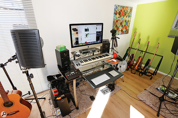 Alex's setup is based around a 27-inch iMac and a Roland Octa-Capture interface.