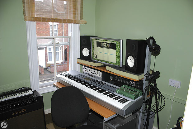 This is Henry's studio at the beginning of the Studio SOS visit. It's a typical small box-room, and as you can see it was unsullied by acoustic treatment! A plus point, though, was the Yamaha NS10M monitors, which don't put a huge amount of bass out into the room and have a fast transient response, helping to avoid some of the problems at the bass end that plague so many small rooms.