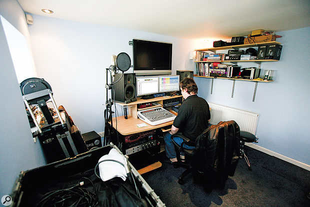 Before: Although the soundproofing in Michael's new studio pleased his partner Lyn, there was no acoustic treatment and the sound of the space was frustrating him.