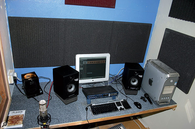 A recomissioned Apple Mac G4 and MOTU Traveller interface, along with some generous donations (including monitors from Alesis), formed the basis of a fully operational multitrack recording setup.