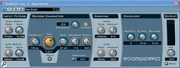 Once the compression and EQ had been sorted out, Paul set about creating a suitable vocal reverb. For the more uptempo songs, this shorter 'early reflections' style patch (above) was used, but this was chained with a brighter and longer patch (below) for the ballads.