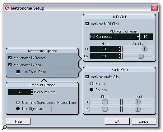 The redesigned Metronome Setup window offers pitch controls for the metronome beep or the ability to use audio samples of your choice.