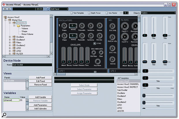 Here is the somewhat daunting editor window for a MIDI Device, where you can create Panels to be displayed in various parts of the application. Notice the main editor area in the middle, the subnode list to the left, and the available object pool to the right, which shows the styles of fader available for your Panels.