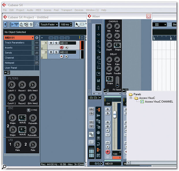 MIDI Device Panels can be displayed in both the Inspector and the Extended Channel Strip, as shown here with the example Virus C Panel included with SX 3. Note the pop-up menu that appears, allowing you to choose a suitable User Panel to display.