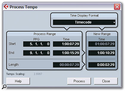 The Process Tempo window offers a way to scale multiple Tempo Events in one calculation — essential for film composers needing to hit specific frames when working with video.