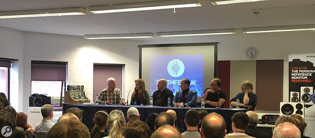 The SynthFest VIP Roundtable Discussion: (R-L) Will Gregory, Adrian Utley, Martyn Ware, Gordon Reid, Hannah Peel and Steve Levine.