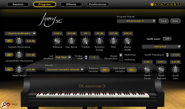 The 'Program' window contains the piano's most important controls, including global release time, pedal and key noise settings, stereo width and left-right flip, timbre (a subtle low-pass filter), dynamic range and sustain-pedal parameters.