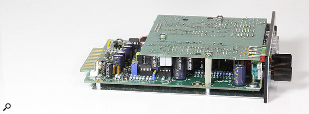 The MicPre One is constructed on two PCBs.