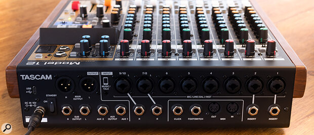 Unlike on the Model 24, all of the I/O other than the headphone outputs are presented on the rear panel, which is arguably abetter arrangement. The Model 12 also has MIDI In and Out sockets, catering for USB MIDI interfacing and outputting MIDI clock and timecode.