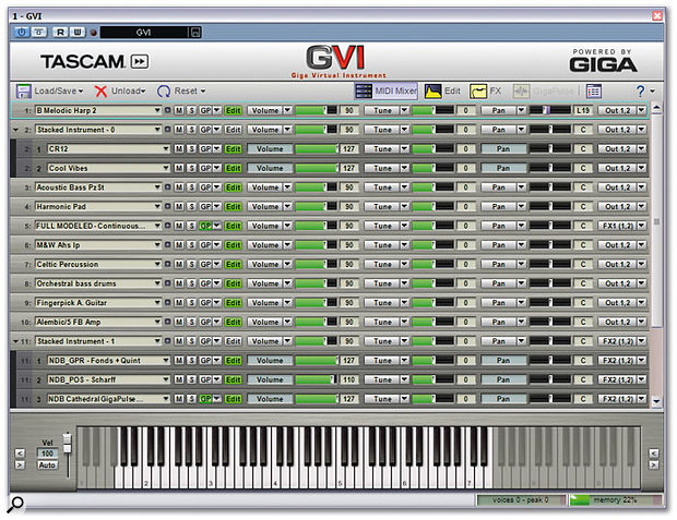 Tascam's GVI gets off to a flying start with an easy-to-use interface that will already be very familiar to Gigastudio users.