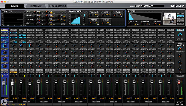 The US20x20 Settings Panel being used to set up a 'zero latency' foldback mix including a  DSP reverb. The virtual mixer allows the user to store snapshots and name individual channel strips, whilst dynamic and EQ processors provide the means of pre-processing input signals prior to being recorded.