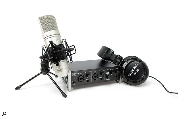 The Trackpack 2x2 attempts to provide an all-in-one home studio solution including a two-channel interface, condenser microphone and headphones.