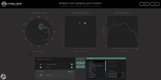 The free online analyser gives you access to TC'sLoudness Radar, the brand‑new Compress‑O‑Meter and Spectr‑O‑Meter, and analysis of an array of chart‑topping and classic hits, allowing you to compare your own masters with them.