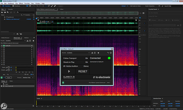 Seen here used in Adobe Audition, the plug-in allows a signal for the hardware meter to be tapped at any point in the DAW signal chain.