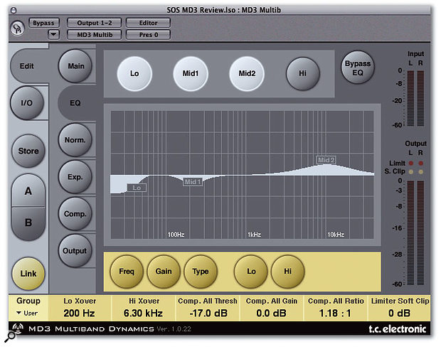 MD3 Multiband Dynamics features a very smooth four-band EQ.