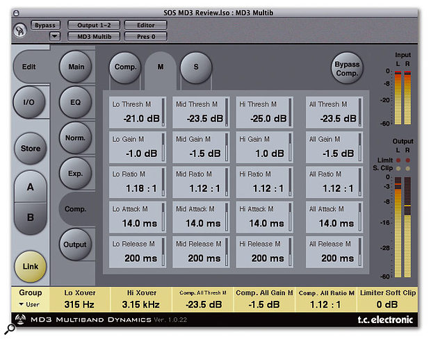 As well as conventional stereo processing, MD3 can split the input signal into Middle and Sides bands.