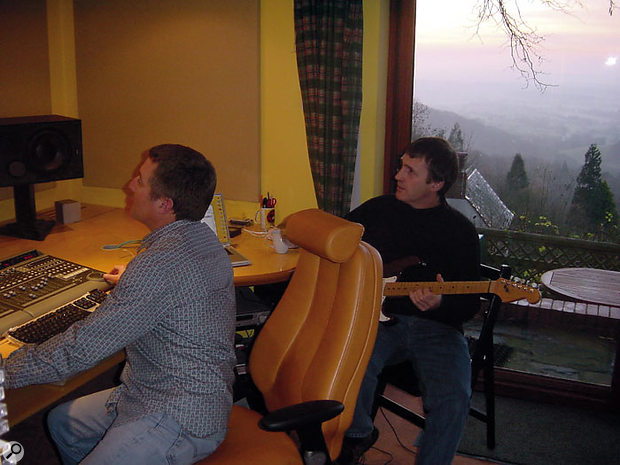 Paul White (right) and David Lowe working on the Royal Gardeners theme at David's home studio.