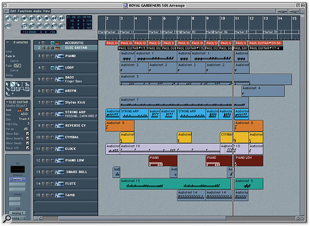 The partially completed music for Royal Gardeners, safely inside Logic.