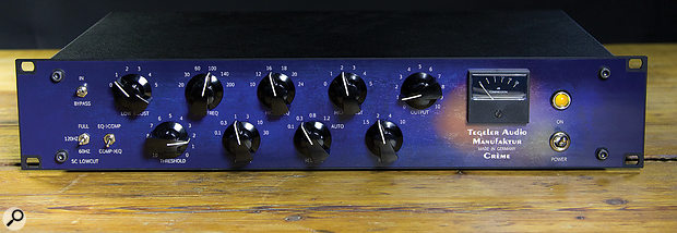 The intuitive controls include a toggle switch to place the EQ pre- or post-compressor.