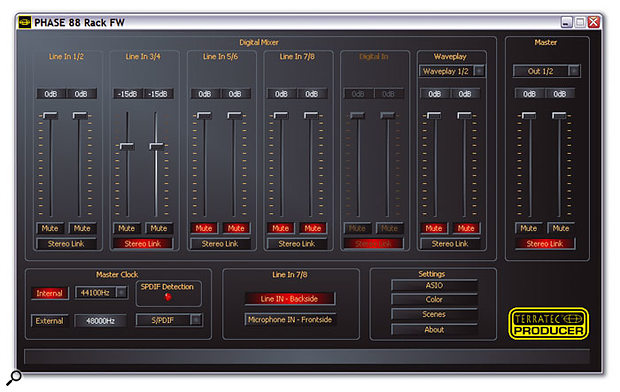 With a comprehensive monitor mixer, clear display of clock settings, and software switching of mic/line input sensitivity, the Terratec Control Panel provides comprehensive control over the Rack FW.