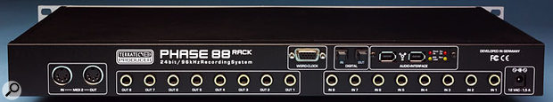 The Phase 88 Rack becomes a Firewire device thanks to the inclusion of an interface board with two Firewire sockets and some sync LEDs.