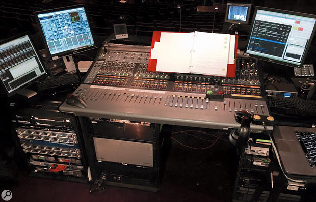 The front-of-house console is usually operated by the 'sound number 1', who will be constantly adjusting faders while following the script.