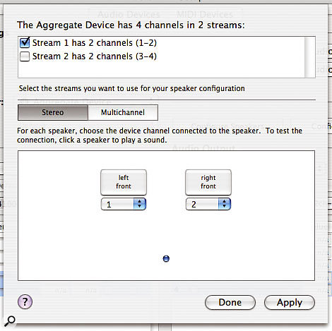 The Configure Speakers sheet enables you to specify what outputs on your Audio Device are used by applications that output audio to Mac OS X's stereo or multi-channel speaker arrangement. Notice how multiple Streams can be selected in the upper part of the sheet if the Audio Device has multiple Streams, as you can see here for an Aggregate Device.