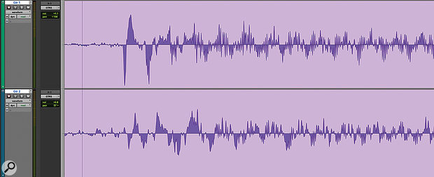 Sometimes inspecting the waveform reveals no obvious starting point for time-alignment, even in cases like this where the same guitar has been recorded through two amps.